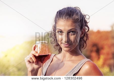 Pretty Girl Looking Glass Of Wine Before Drinking Vintage Warm Look