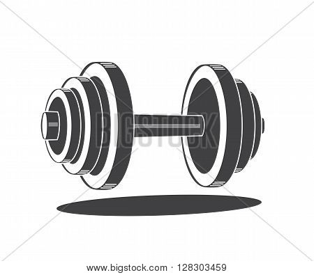 Monochrome dumbbell icon, vector illustration isolated on white