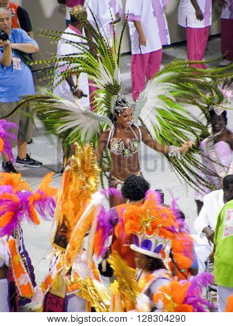 Rio de Janeiro Brazil - February 23: amazing extravaganza during the annual Carnival in Rio de Janeiro on February 23 2009 - semi naked female dancer