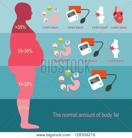 Obesity man. The degree of obesity. Vector illustration. The progression of obesity. Infographics. Body fat percentage from low to high. Diseases from obesity. Flat design.