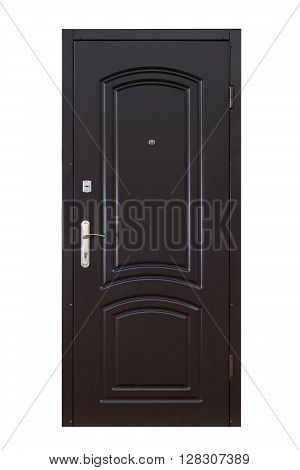 Closed wooden door isolated at white background. Image of a closed door. Entrance to apartment. Black wood, designed and textured front door with lock and handle. Modern Door design.