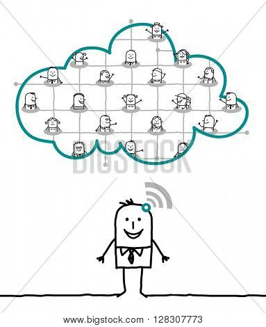 cartoon characters and cloud - network