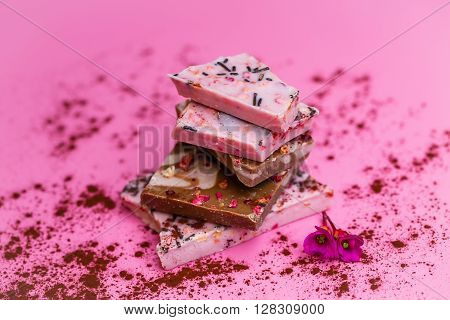 several successive towered stone finest chocolate with raspberry flavor