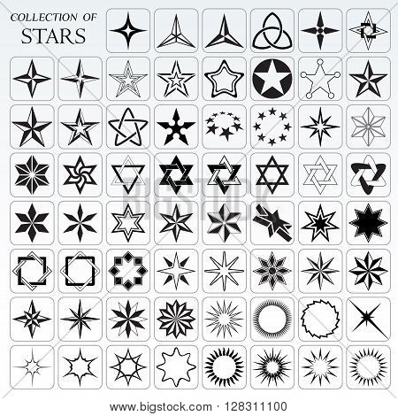 Big collection of stars and flares in vector format