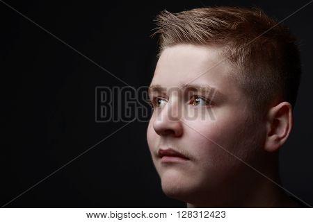 Studio portrait headshot of young teenager model