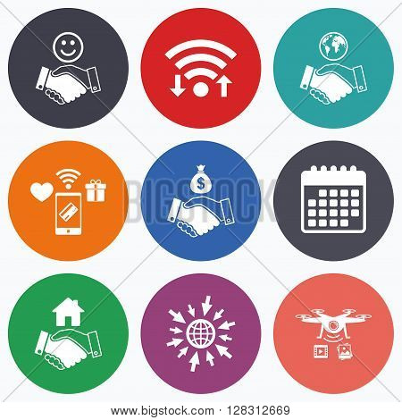 Wifi, mobile payments and drones icons. Handshake icons. World, Smile happy face and house building symbol. Dollar cash money bag. Amicable agreement. Calendar symbol.