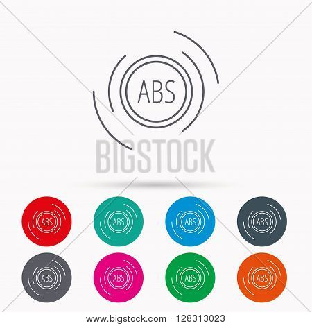 ABS icon. Brakes antilock system sign. Linear icons in circles on white background.