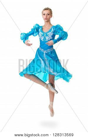 one caucasian young woman ballerina ballet dancer jumping, isolated in full body on white background