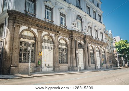 Rio De Janeiro, Brasil - March 06, 2016:  Architerual Details Building Streets Of Downtown Around Ri