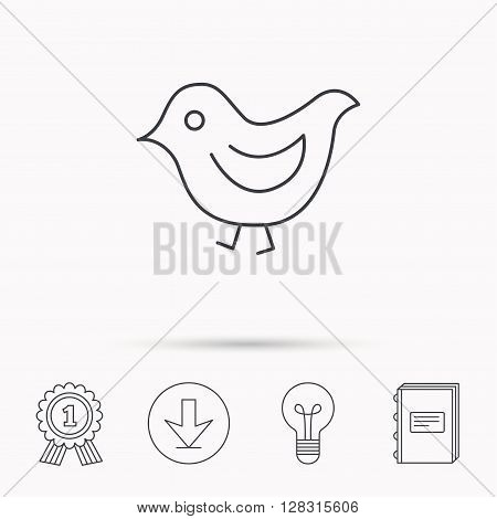 Bird icon. Chick with beak sign. Fowl with wings symbol. Download arrow, lamp, learn book and award medal icons.