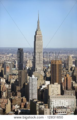 Aerial view of Empire State Building in Manhattan, New York.