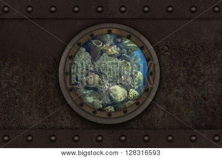Submarine armoured porthole metal background poster