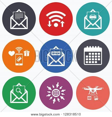 Wifi, mobile payments and drones icons. Mail envelope icons. Print message document symbol. Post office letter signs. Spam mails and search message icons. Calendar symbol.