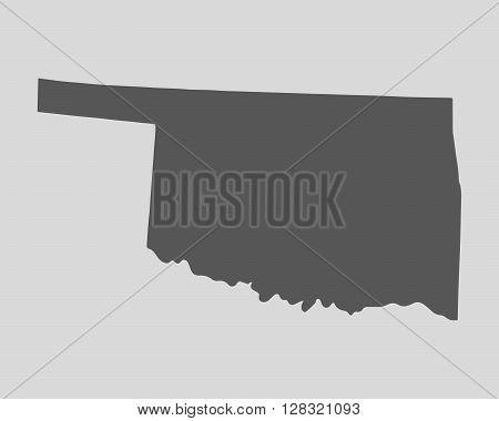 Black map of the State of Oklahoma - vector illustration. Simple flat map State of Oklahoma.