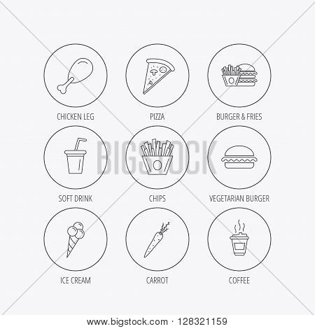 Vegetarian burger, pizza and soft drink icons. Coffee, ice cream and chips fries linear signs. Chicken leg, carrot icons. Linear colored in circle edge icons.