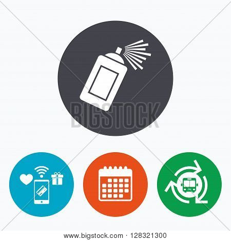 Graffiti spray can sign icon. Aerosol paint symbol. Mobile payments, calendar and wifi icons. Bus shuttle.