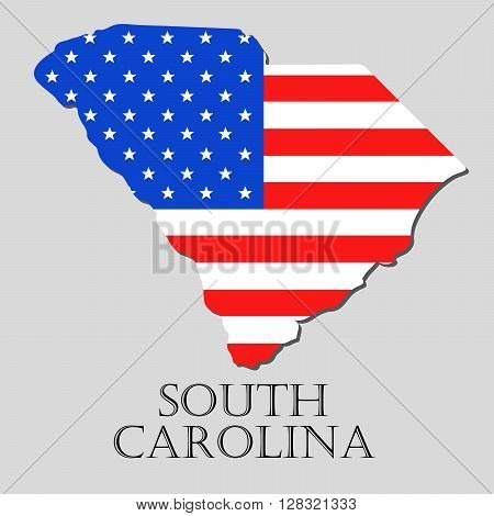 Map of the State of South Carolina and American flag illustration. America Flag map - vector illustration.
