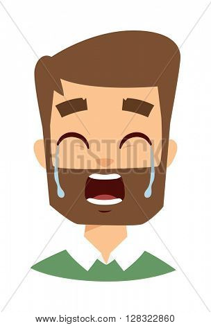 Crying man vector illustration.