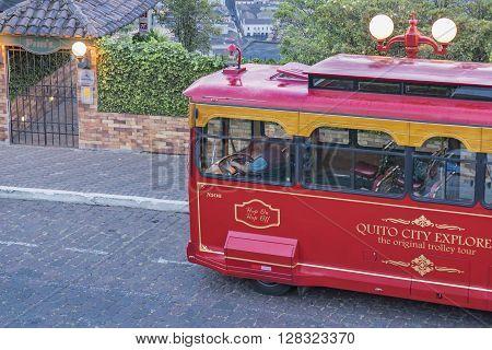 Touristic Bus At Cobblestone Street
