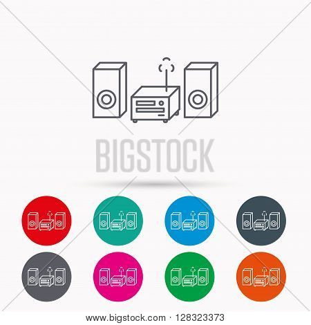 Music center icon. Stereo system sign. Linear icons in circles on white background.