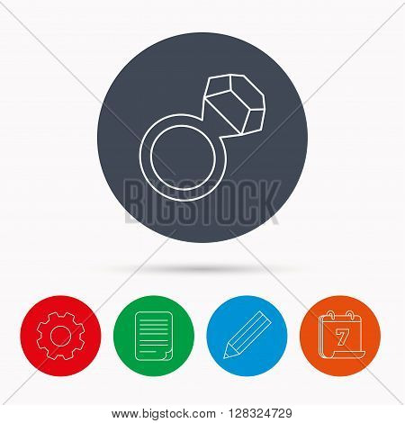 Ring with diamond icon. Jewellery sign. Calendar, cogwheel, document file and pencil icons. poster