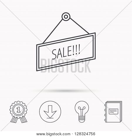Sale icon. Advertising banner tag sign. Download arrow, lamp, learn book and award medal icons.