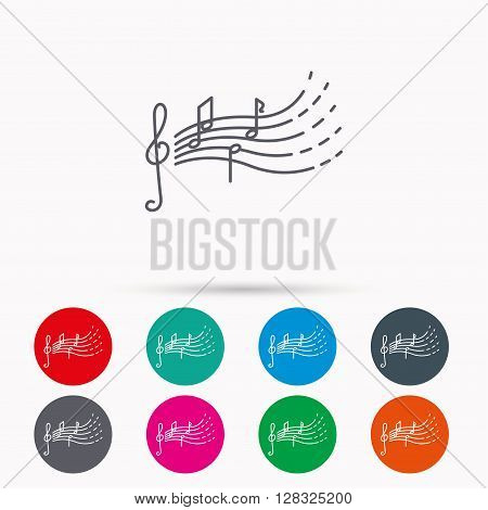 Songs for kids icon. Musical notes, melody sign. G-clef symbol. Linear icons in circles on white background.