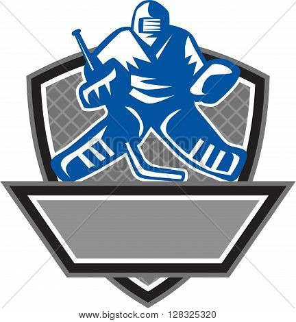Illustration of a ice hockey goalie wearing helmet holding hockey stick set inside shield crest viewed from the front with net on the background done in retro style.