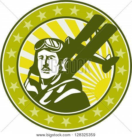 Illustration of a vintage world war one pilot airman aviator bust with spad biplane fighter planes sunburst and stars in background set inside circle done in retro style.