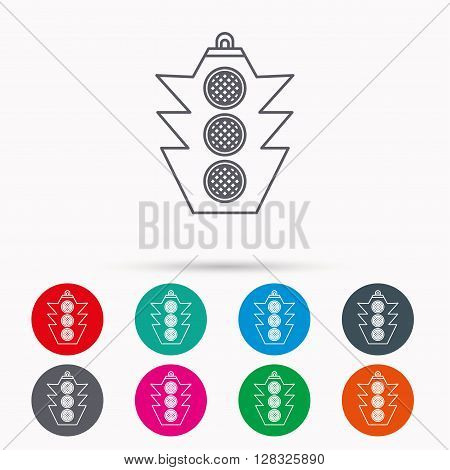 Traffic light icon. Safety direction regulate sign. Linear icons in circles on white background.