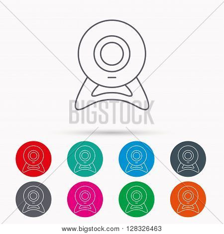 Web cam icon. Video camera sign. Online communication symbol. Linear icons in circles on white background.