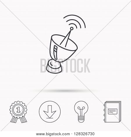 Antenna icon. Sputnik satellite sign. Radio signal symbol. Download arrow, lamp, learn book and award medal icons.