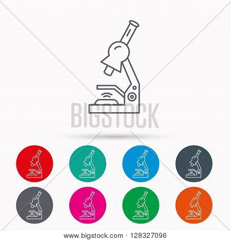 Microscope icon. Medical laboratory equipment sign. Pathology or scientific symbol. Linear icons in circles on white background.