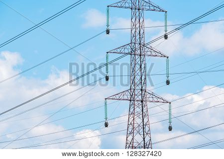 Large view on the modern high powerlines