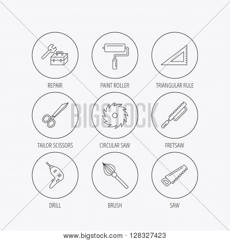 Scissors, paint roller and repair tools icons. Fretsaw, circular saw and brush linear signs. Triangular rule, drill icons. Linear colored in circle edge icons.
