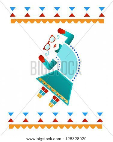 Fun Dancing Hipster decal - Aztec inspired