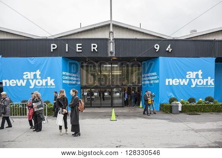 New York NY USA - May 3 2016: General view on entrance to the Art New York International contemporary Art Fair during VIP preview at the Art New York CONTEXT New York Pier 94 Manhattan