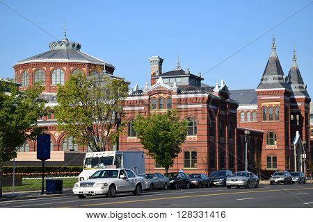 WASHINGTON, DC - APR 16: The Smithsonian Arts and Industries Building in Washington, DC, as seen on April 16, 2016. It was designated a National Historic Landmark in 1971.