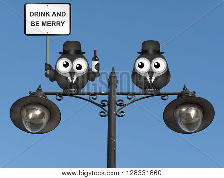 Drunk bird with drink and be merry sign perched on a lamppost against a clear blue sky
