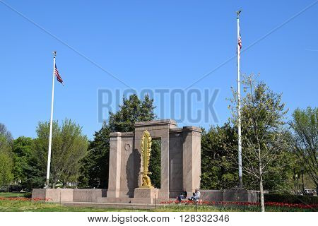 WASHINGTON DC - APR 16: The Second Division Memorial in Washington, DC, as seen on April 16, 2016. The Memorial commemorates those who died, while serving in the 2nd Infantry Division of the U. S. Army.