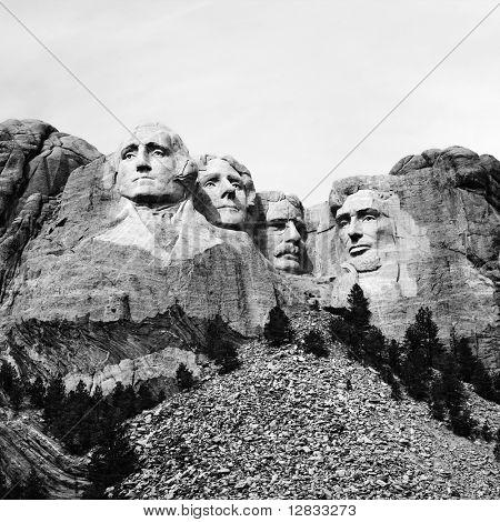Black and white of Mount Rushmore National Monument, South Dakota.