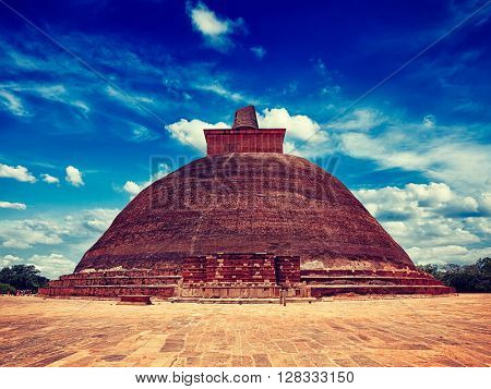 Vintage retro effect filtered hipster style image of Jetavaranama dagoba Buddhist stupa in ancient city Anuradhapura, Sri Lanka