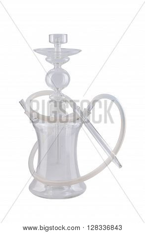 Modern transparent hookah isolated on white background. Eastern smokable water pipe smoking on white background. hookah with rubber tube and flask isolated on white background.