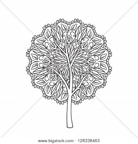 Mandala tree. Hand drawn illustration of tree with abstract ornament isolated on white background