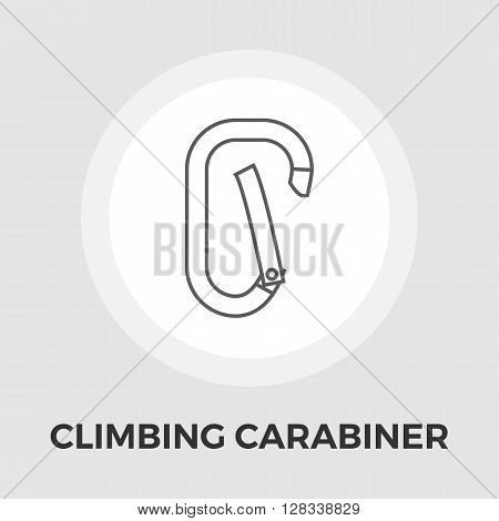 Climbing carabiner icon vector. Flat icon isolated on the white background. Editable EPS file. Vector illustration.