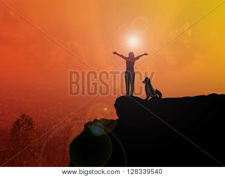 Women And Dog Silhouette On Cliff With Blurred Top City View From Highland Background