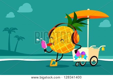 illustration of cartoon pineapple enjoy eating ice cream by a cart at the beach-summer day