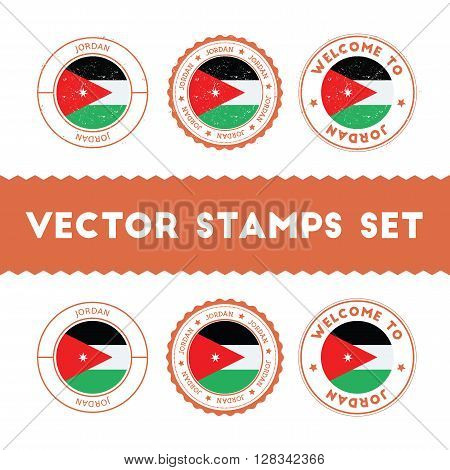 Jordanian Flag Rubber Stamps Set. National Flags Grunge Stamps. Country Round Badges Collection.