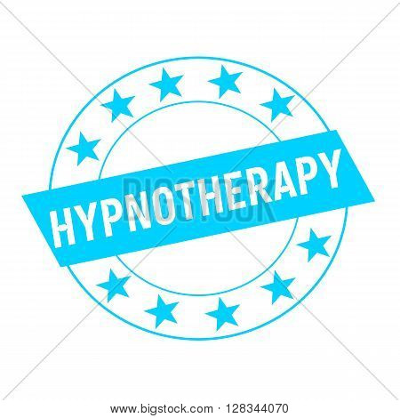 HYPNOTHERAPY white wording on blue Rectangle and Circle blue stars