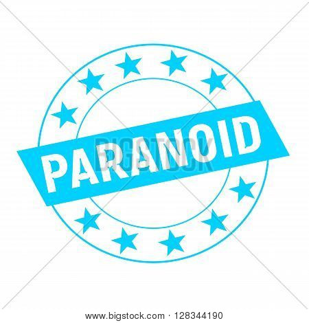 PARANOID white wording on blue Rectangle and Circle blue stars